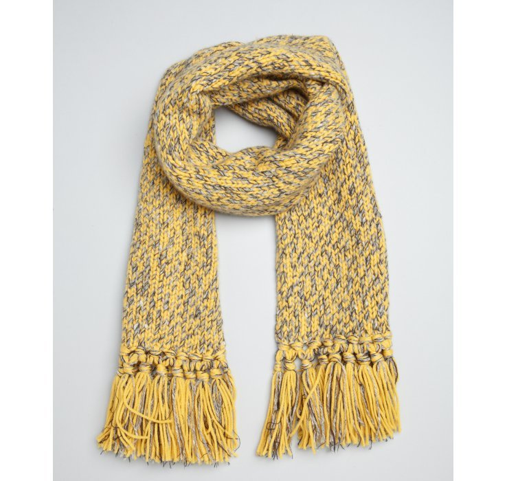 hermes yellow cashmerewoolsilk chunky knit fringe scarf in