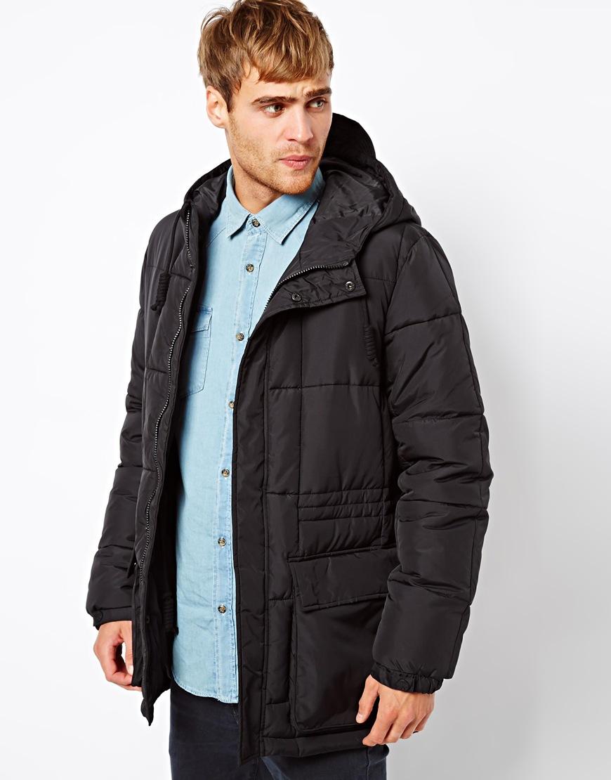 asos jack jones parka jacket with down hood in black for men lyst. Black Bedroom Furniture Sets. Home Design Ideas