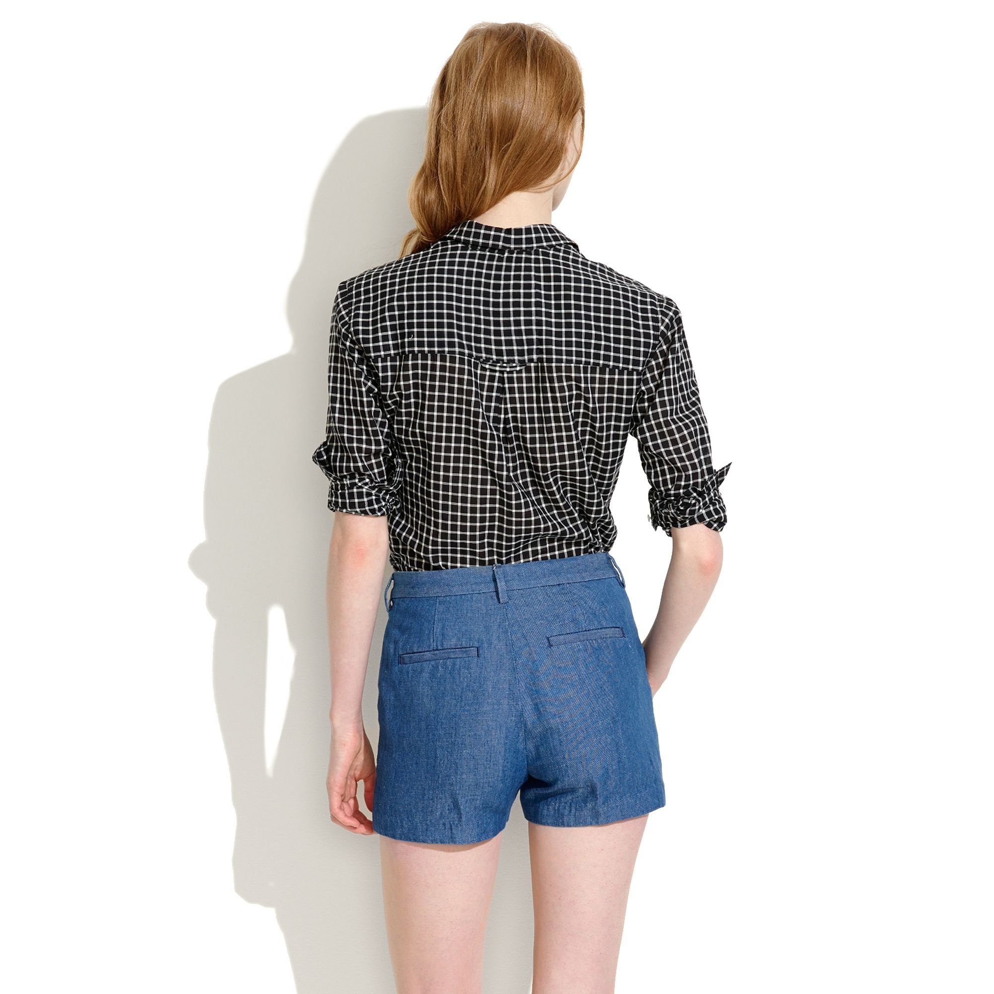 8d54eb805e8 Lyst - Madewell Tailored Shorts in Chambray in Blue