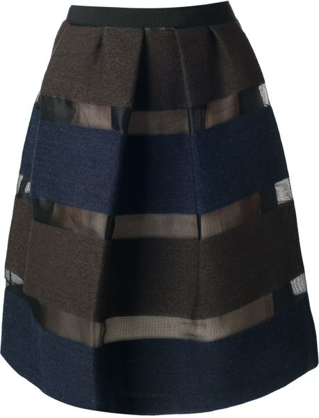 Mantu Striped Skirt in Blue