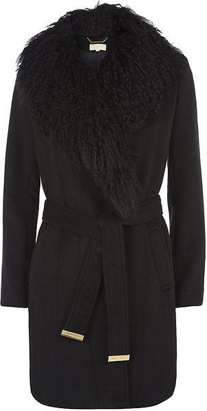 Michael Michael Kors Mongolian Fur Collar Coat In Black Lyst