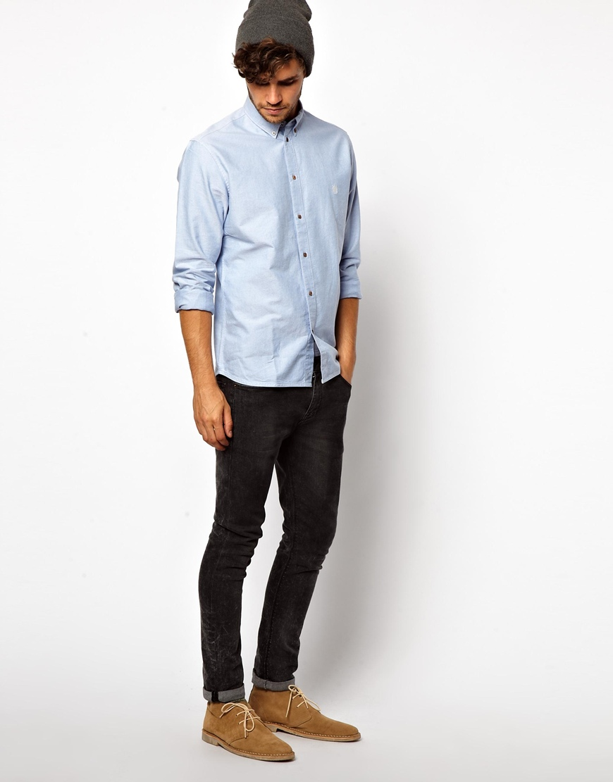Lyst g star raw paul smith jeans oxford shirt in blue for Mens jeans and dress shirt