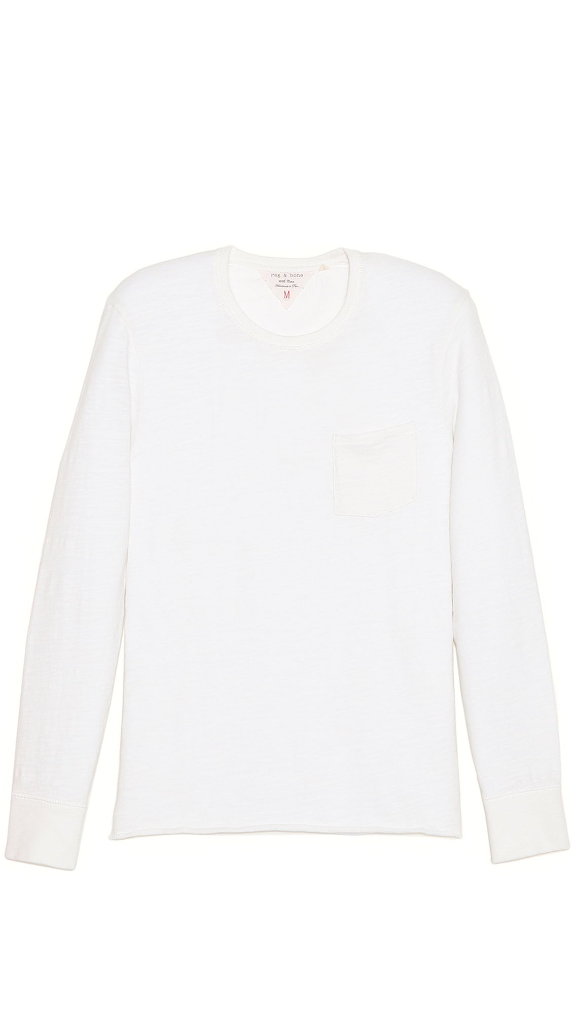 Rag bone long sleeve pocket t shirt in white for men lyst Mens long sleeve white t shirt