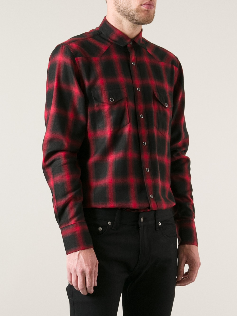 Saint Laurent Plaid Flannel Shirt In Red For Men Lyst