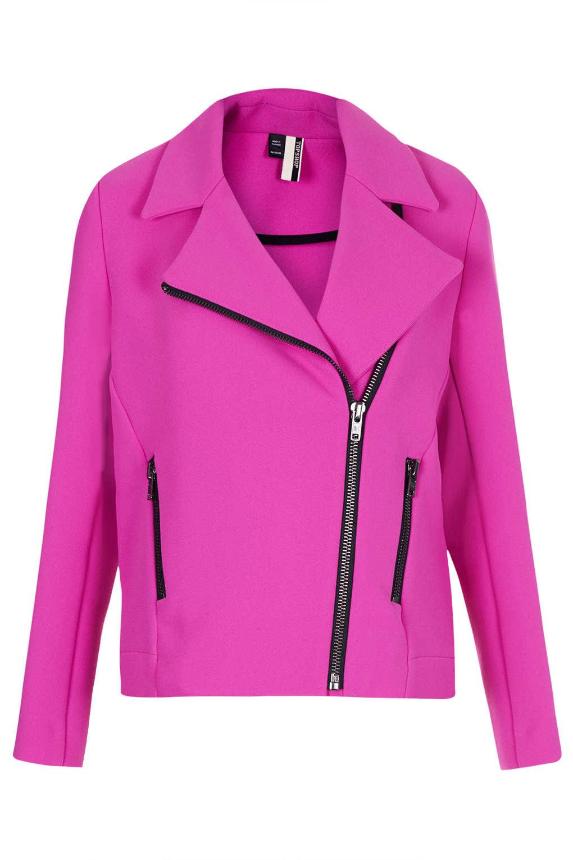 Topshop Heavy Crepe Biker Jacket in Pink | Lyst