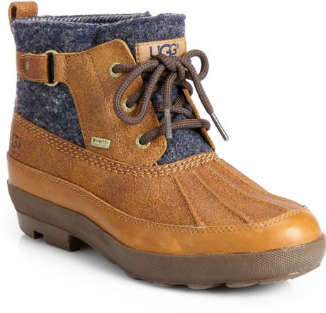 ugg lina leather wool laceup duck boots in brown chestnut
