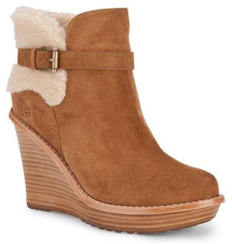 ugg ugg australia anais wedge ankle boots in brown