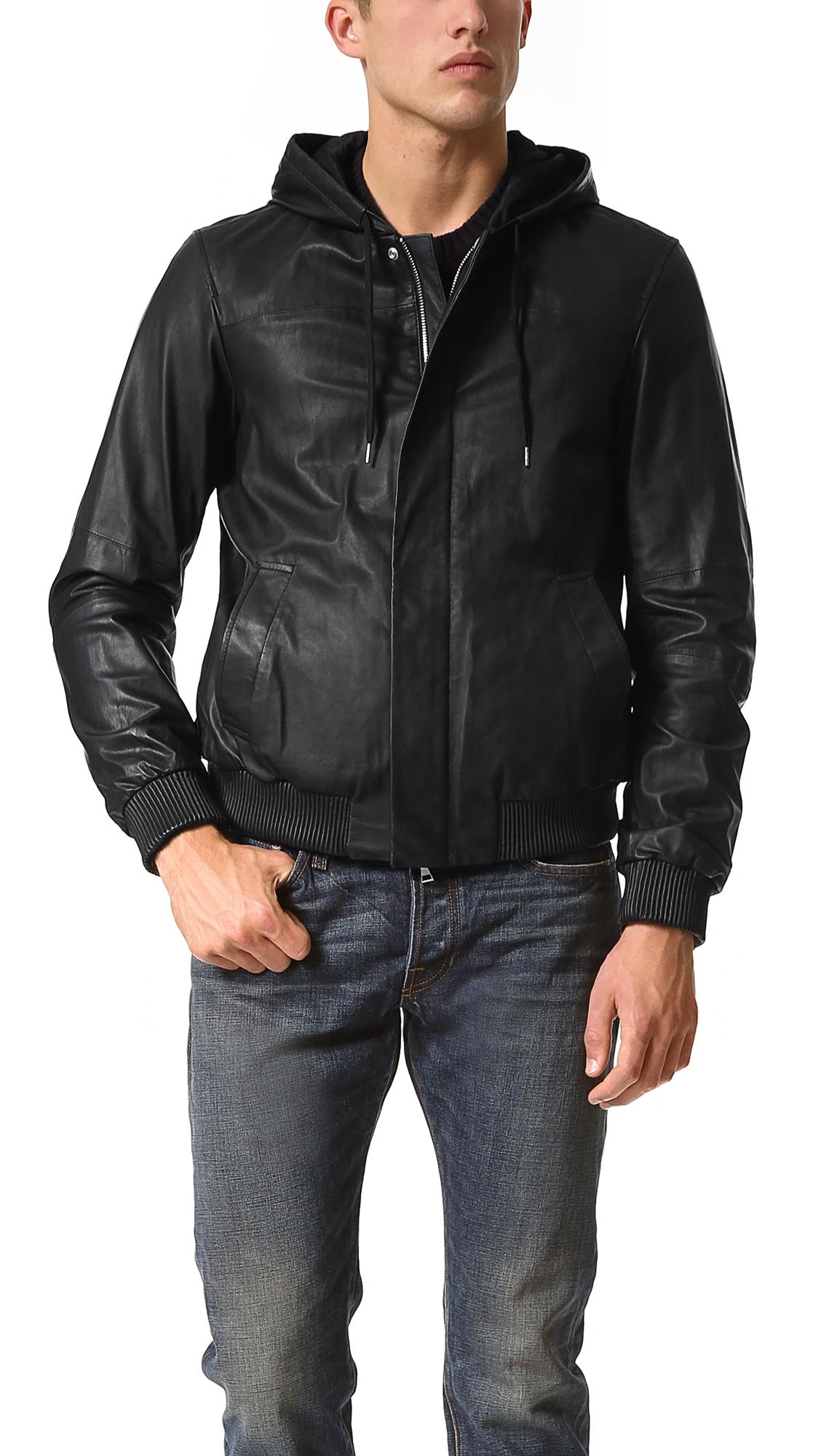 Lyst Vince Hooded Leather Bomber Jacket In Black For Men