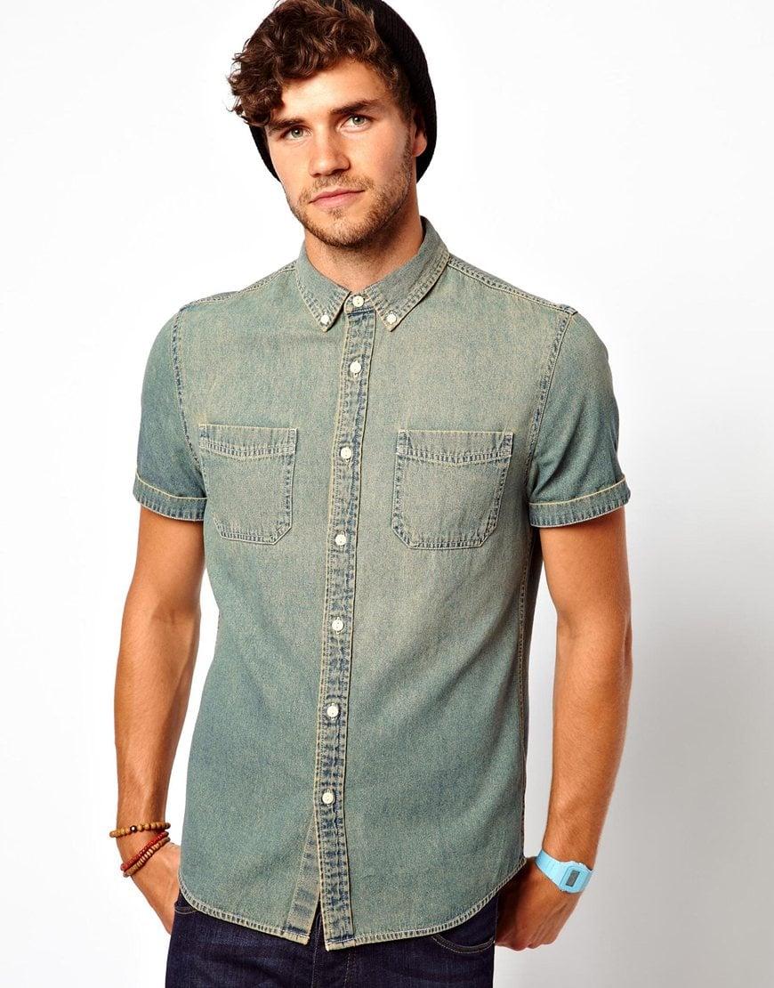 Cheap Monday Denim Shirt in Short Sleeve in Blue for Men | Lyst