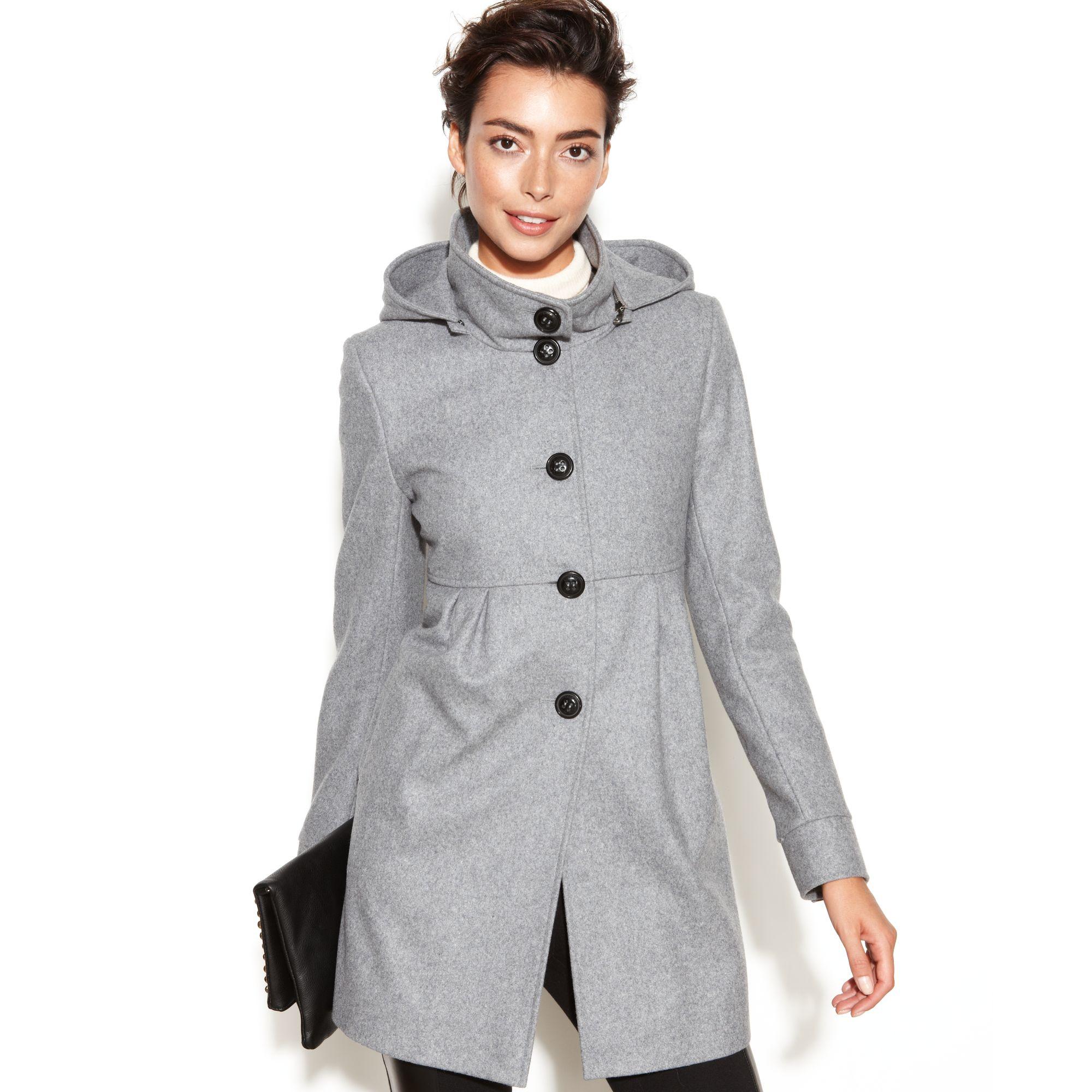 Dkny Hooded Wool Blend Babydoll in Gray | Lyst
