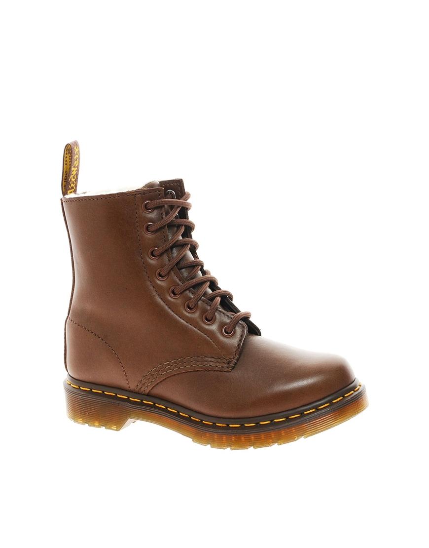 dr martens serena brown sheepskin 8eye boots in brown lyst. Black Bedroom Furniture Sets. Home Design Ideas