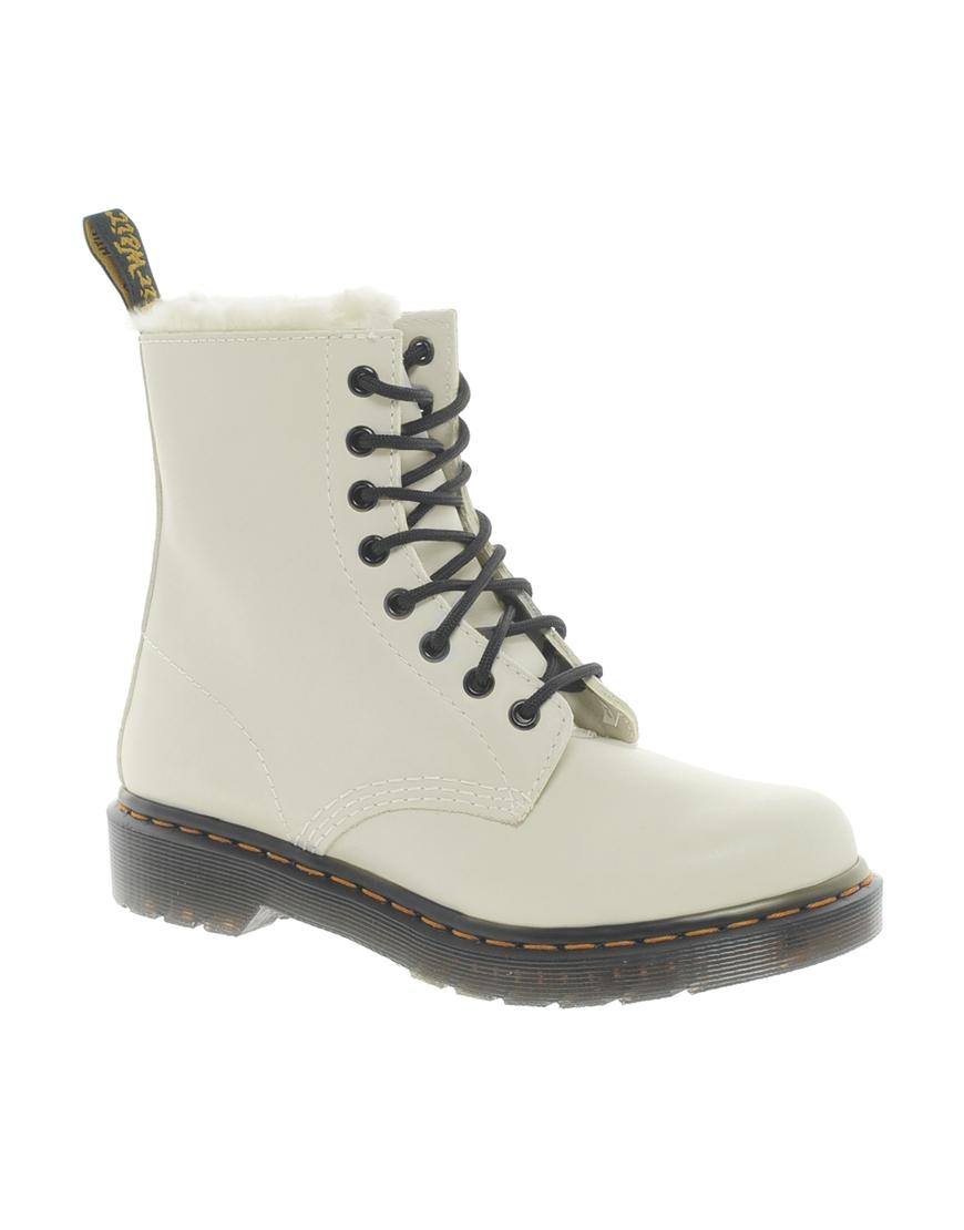 dr martens serena white sheep skin 8eye boots in white lyst. Black Bedroom Furniture Sets. Home Design Ideas