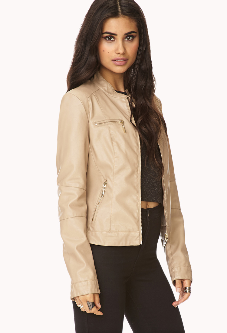 Forever 21 Iconic Faux Leather Jacket in Natural | Lyst