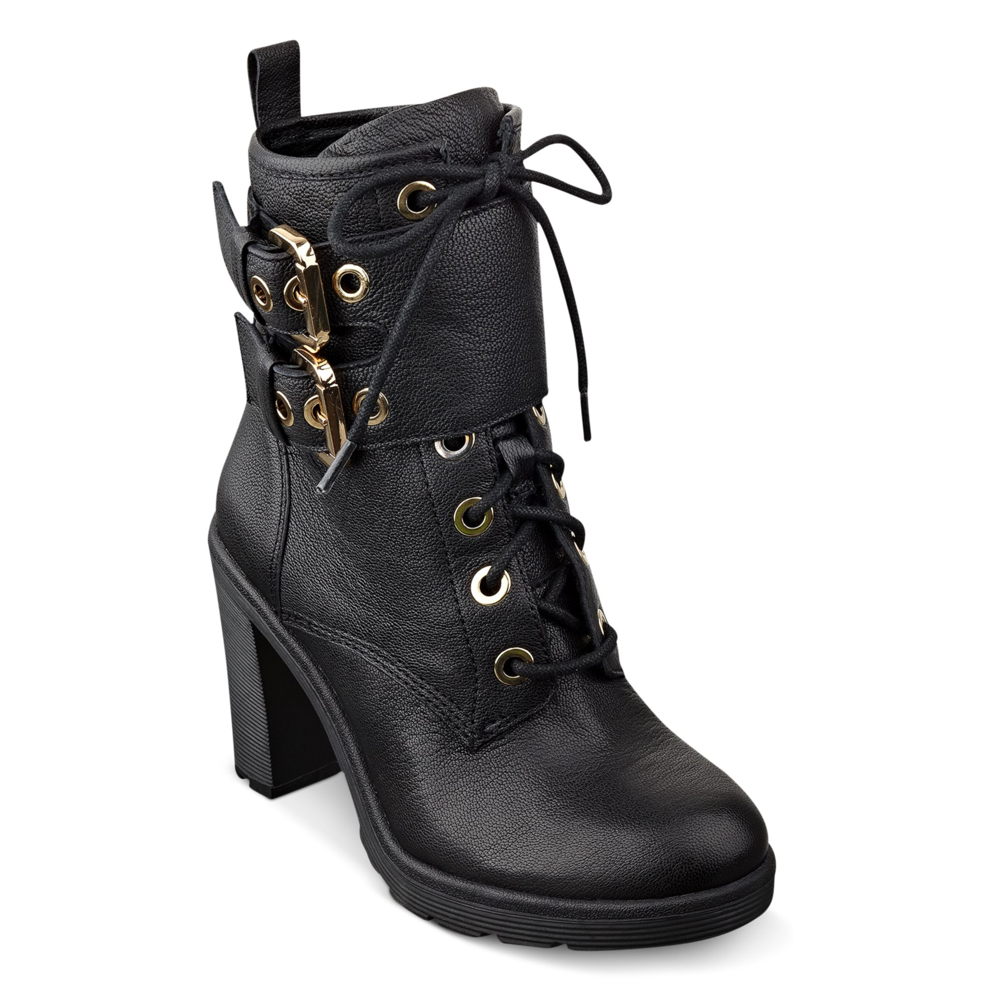 guess s finlay high heel combat booties in black lyst