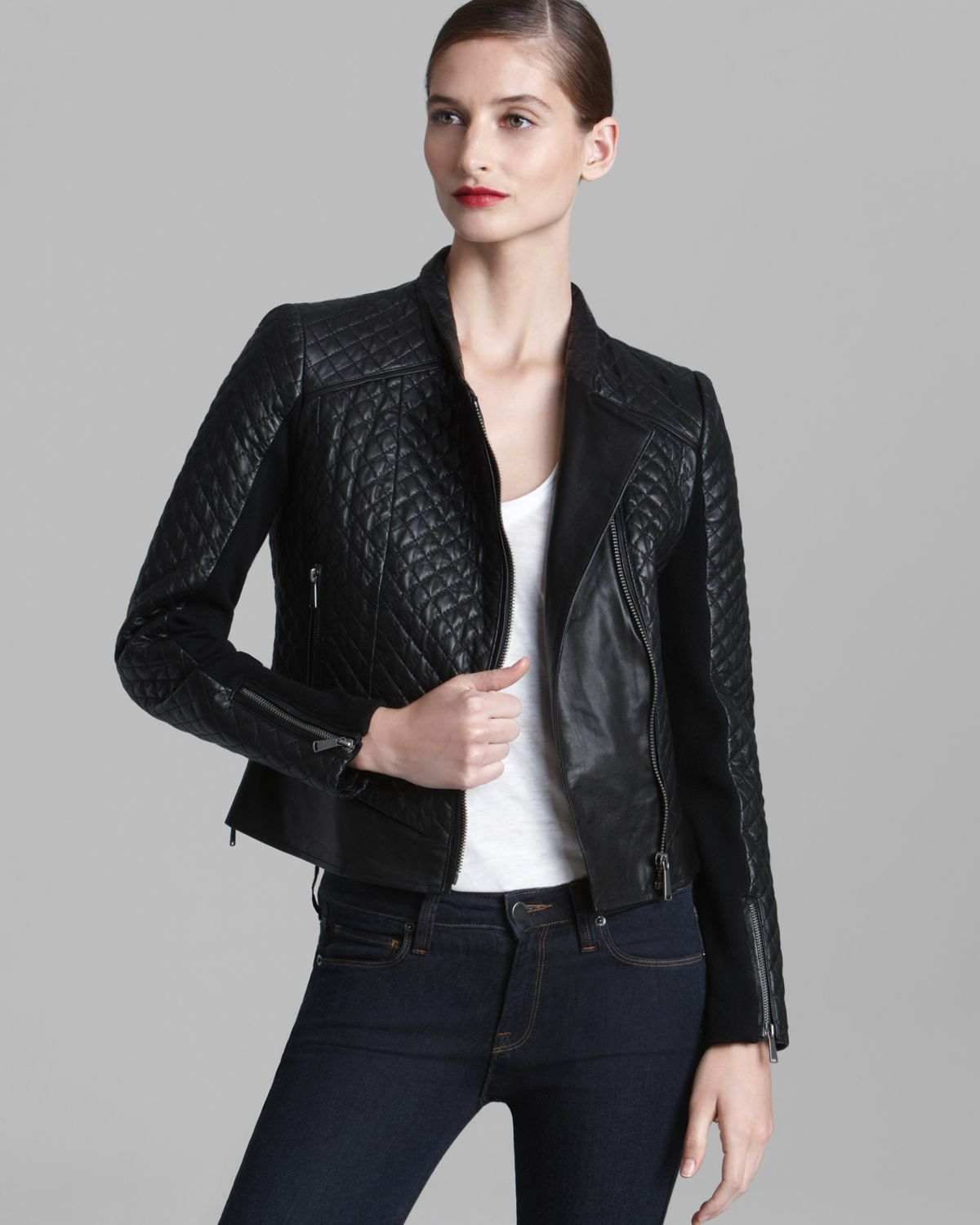 9a2c89ef3 Lyst - Kors by Michael Kors Leather Jacket - Quilted Moto Asymmetric ...