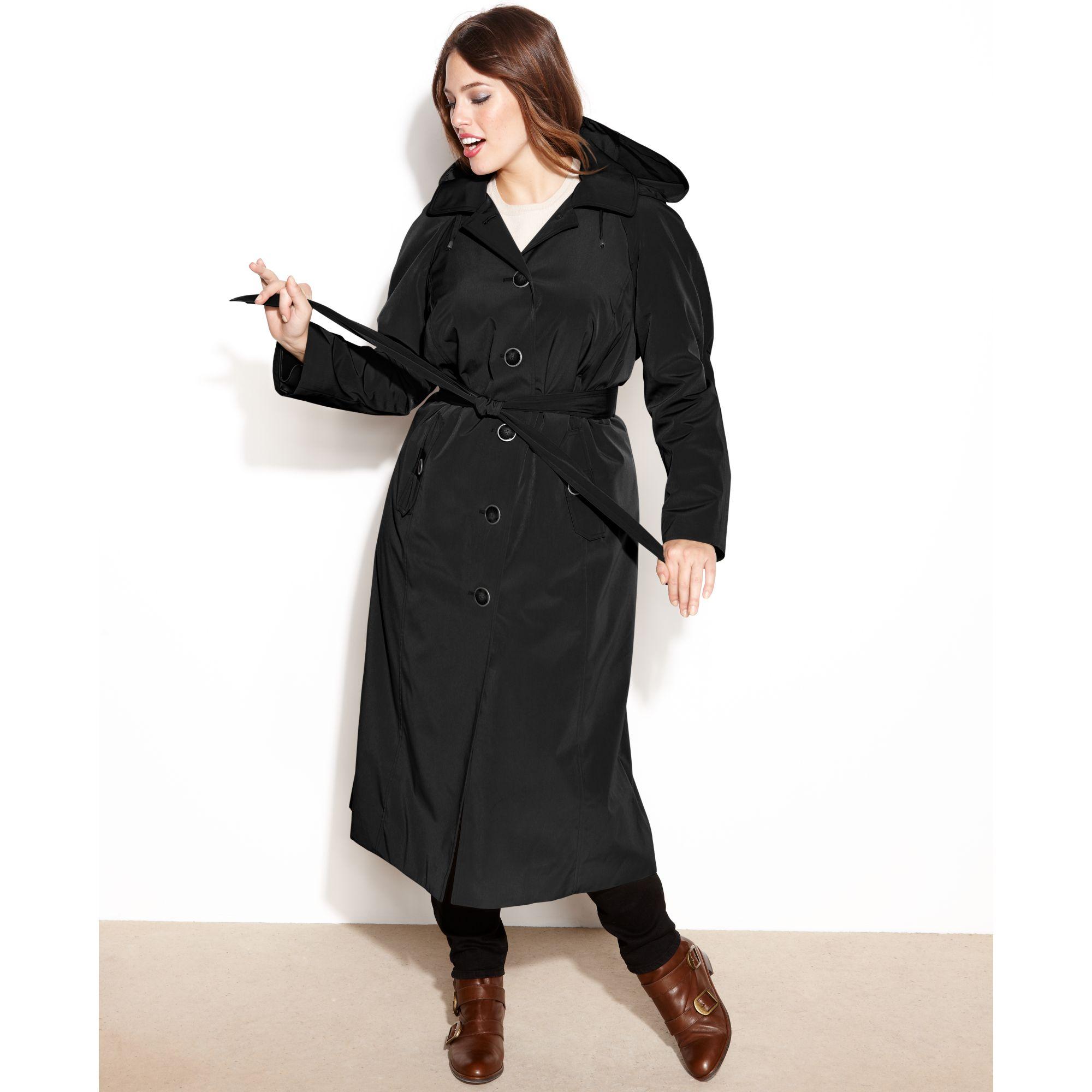 Long black trench coat hood