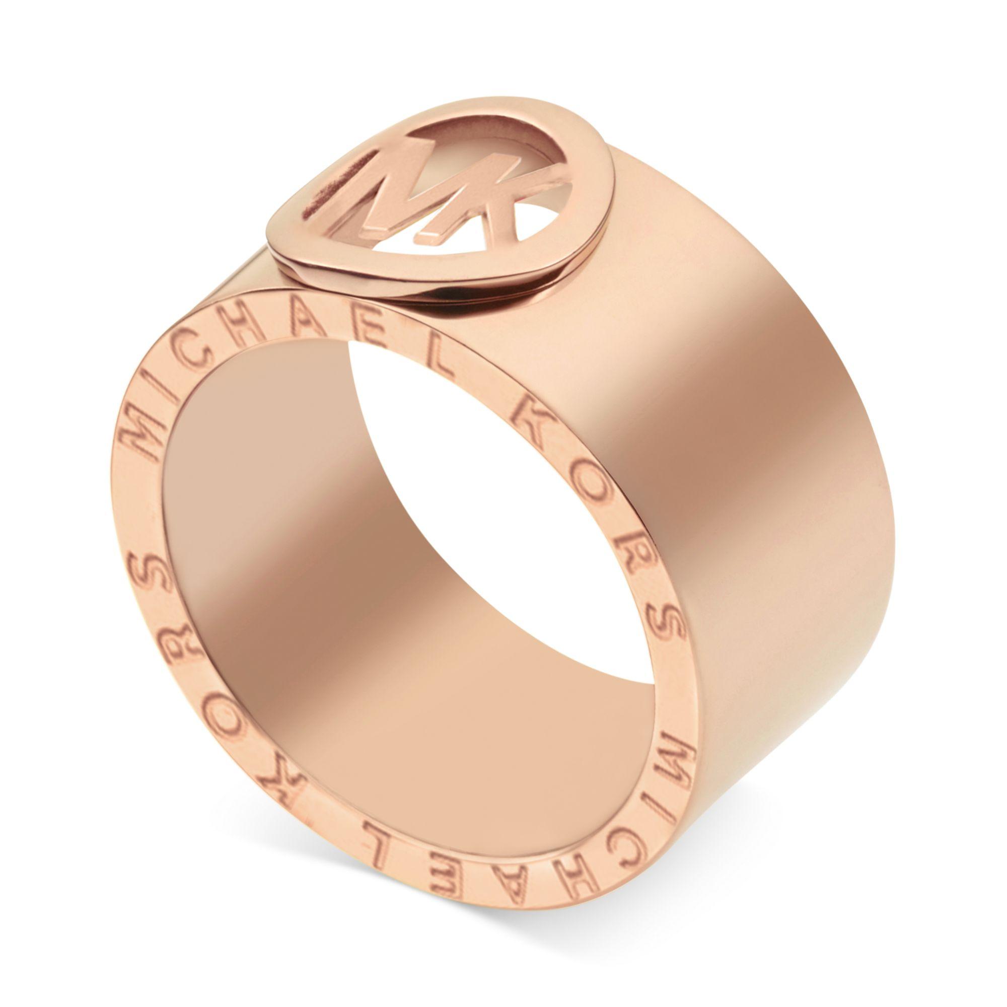 michael kors rose goldtone logo band ring in gold no. Black Bedroom Furniture Sets. Home Design Ideas