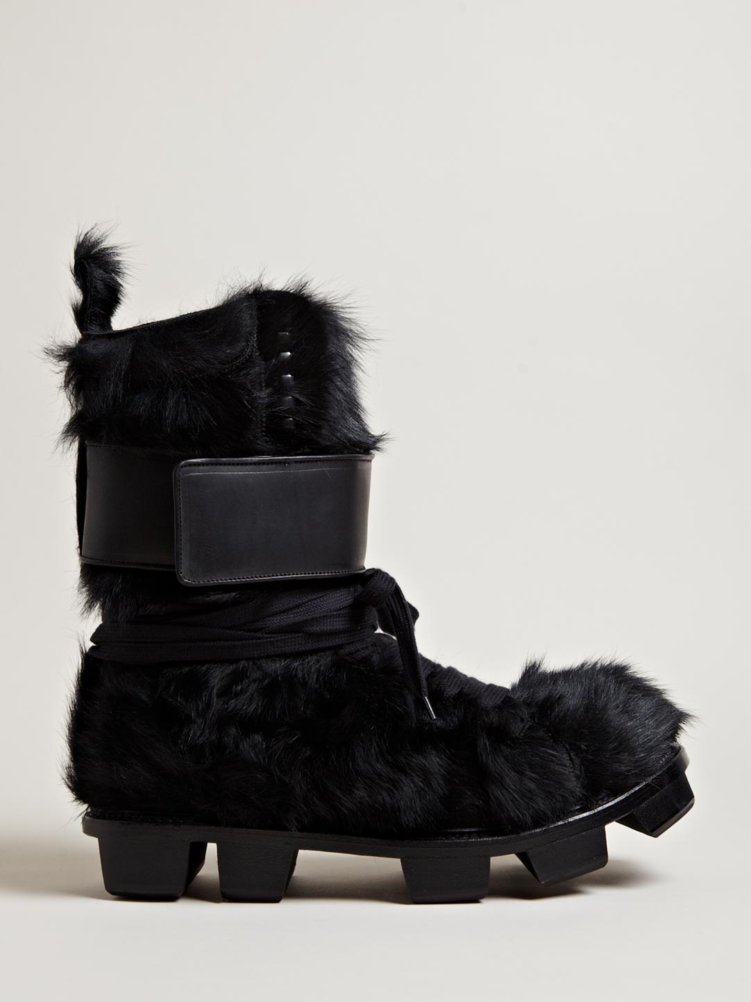 Rick owens Mens Furry Pony Skin Plinth Boots in Black for Men | Lyst