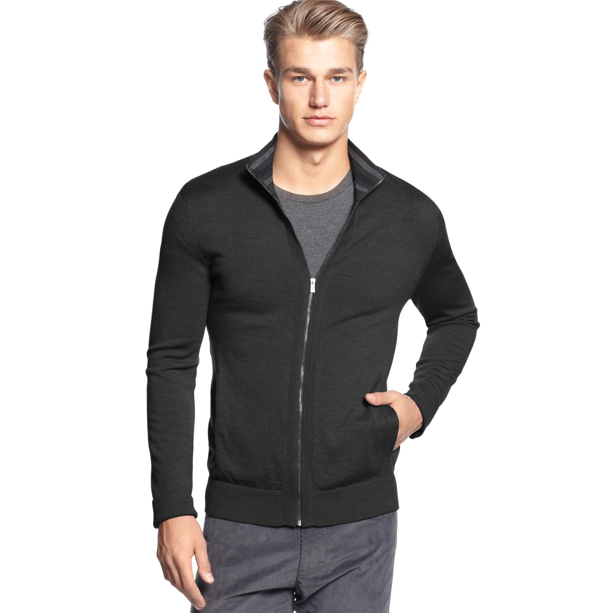 Calvin klein Full Zipper Merino Sweater in Gray for Men | Lyst