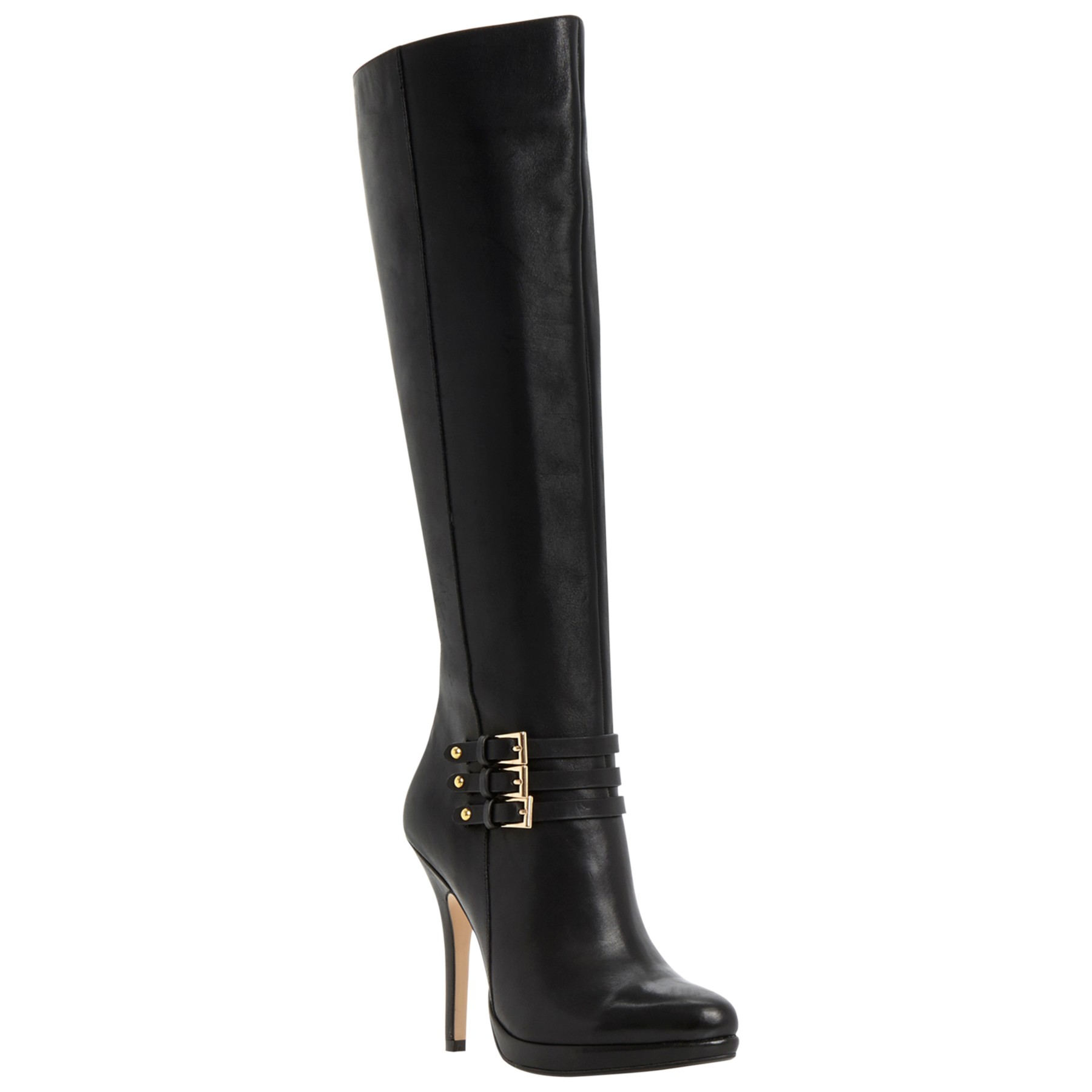 dune sorenity stiletto heel buckle knee high boots in