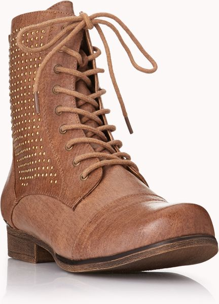 Forever 21 Highvoltage Combat Boots In Brown Taupe Lyst