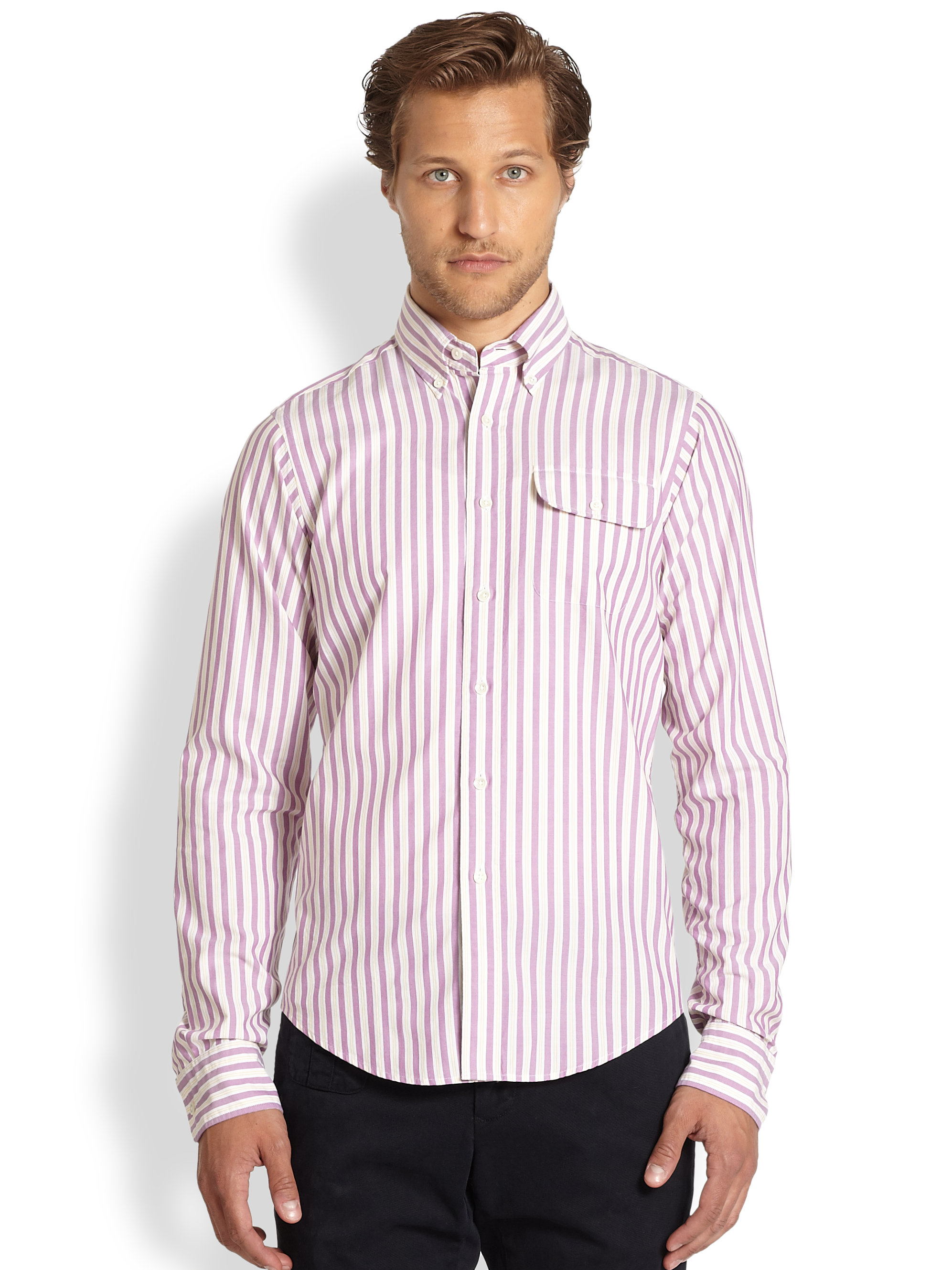Gant Oxford 50s Striped Shirt in Pink for Men | Lyst
