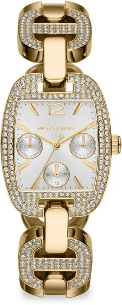 Michael Kors Rectangular Crystalaccented Stainless Steel Chronograph Bracelet Watch in Gold