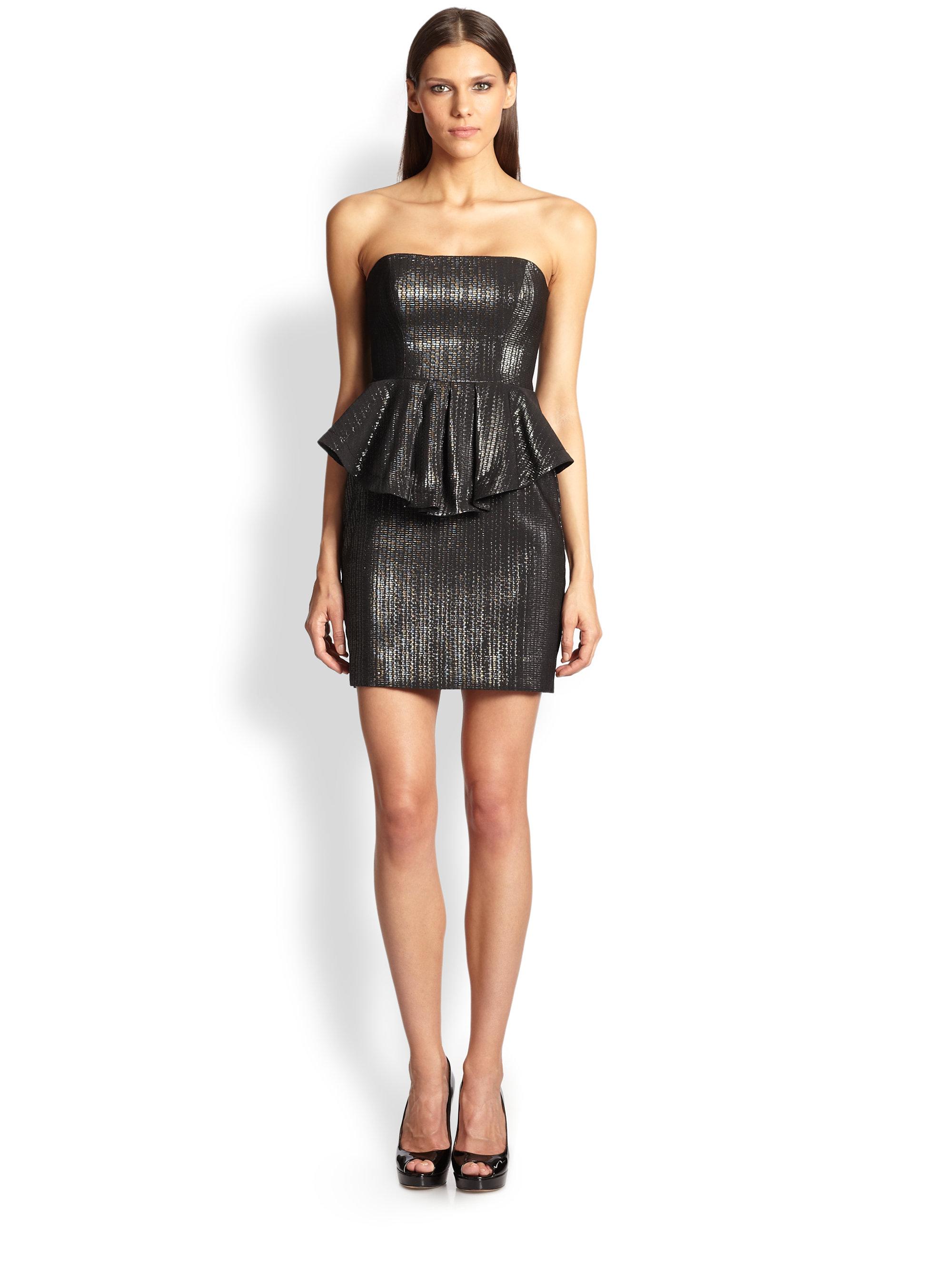 Nicole miller Strapless Peplum Dress in Black   Lyst