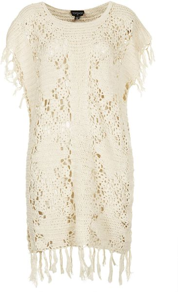 Crochet Cover Up : Topshop Crochet Fringe Cover Up in Beige (CREAM) Lyst