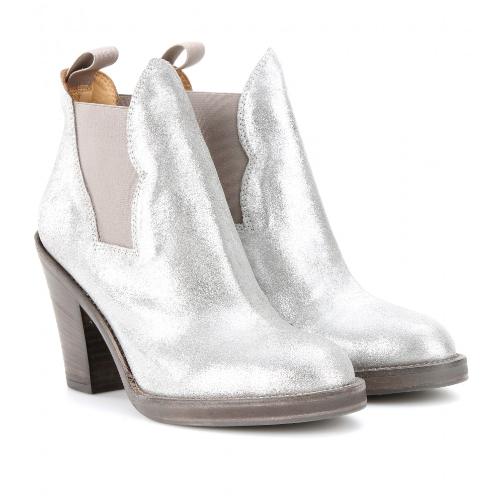 Lyst Acne Studios Star Metallic Leather Ankle Boots In