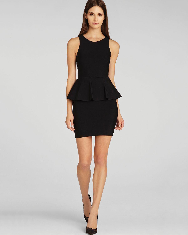 Lyst Bcbgmaxazria Dress Francis Layered Peplum In Black