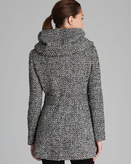 Calvin Klein Coat Belted City Tweed In Gray Black White