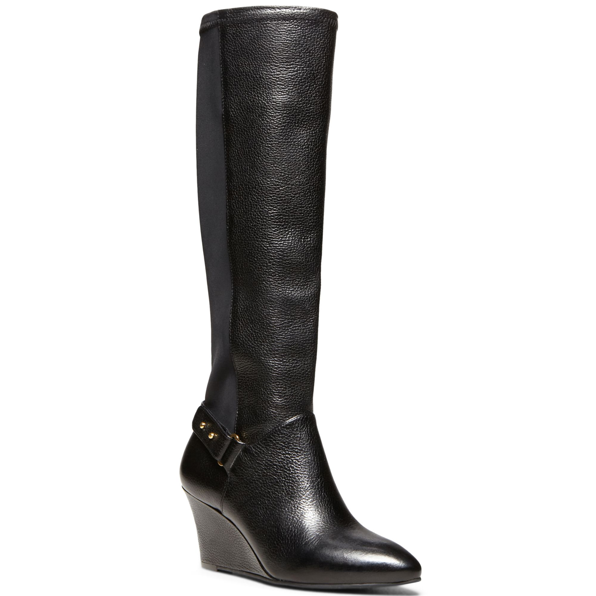 steven by steve madden wedge boots in black lyst