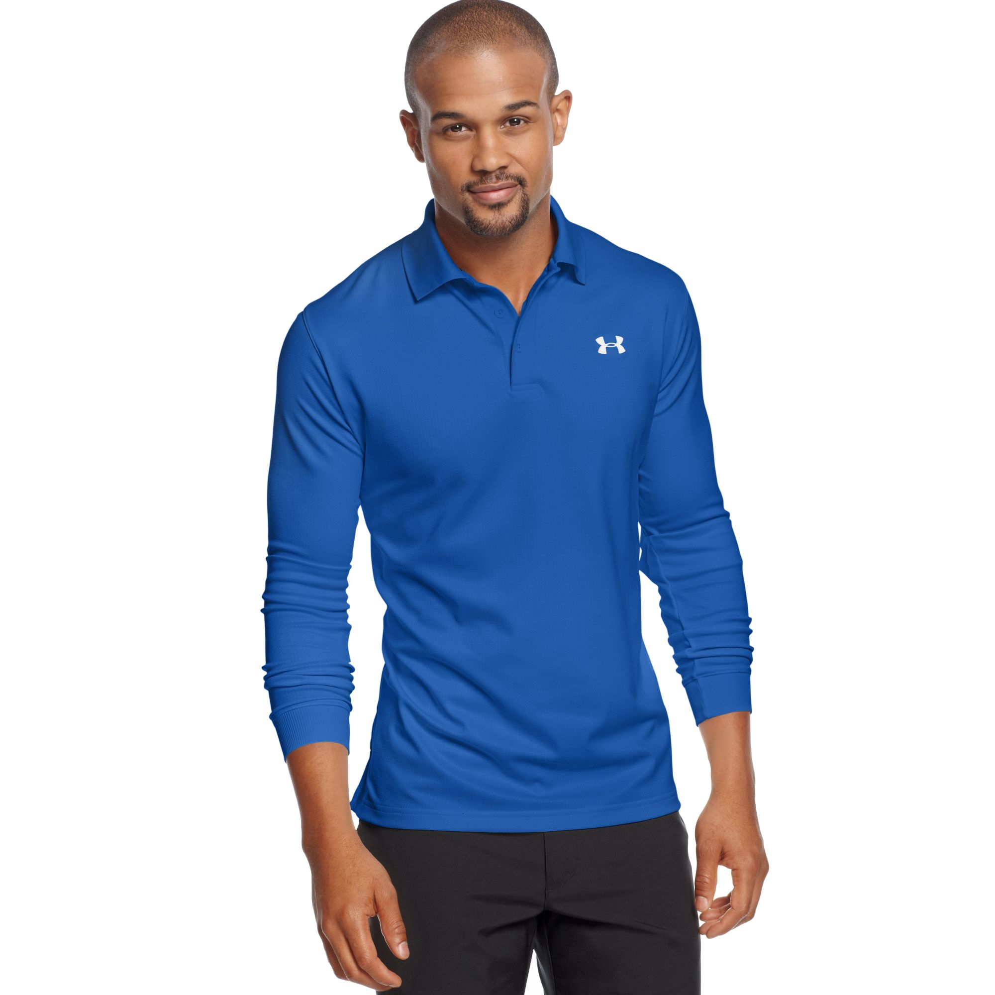 Under Armour Longsleeve Performance Polo Shirt In Blue For