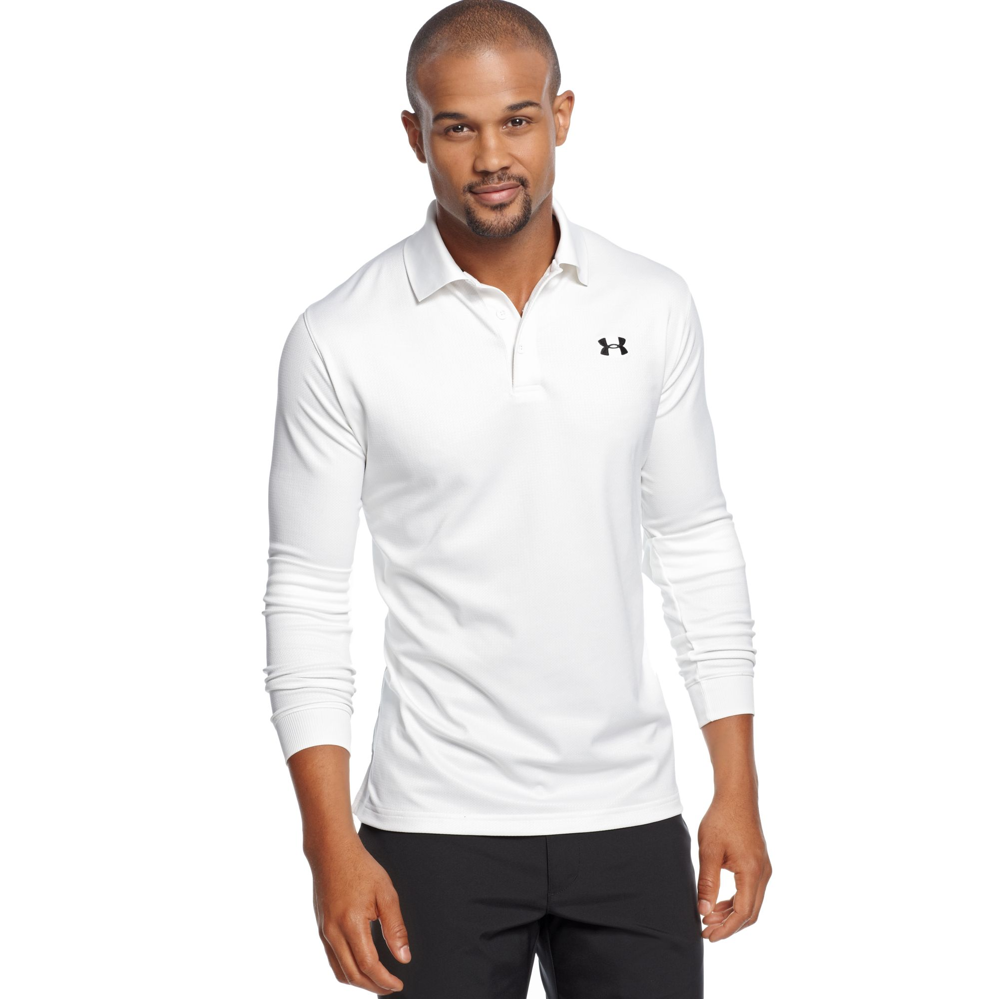 Lyst Under Armour Longsleeve Performance Polo Shirt In White For Men