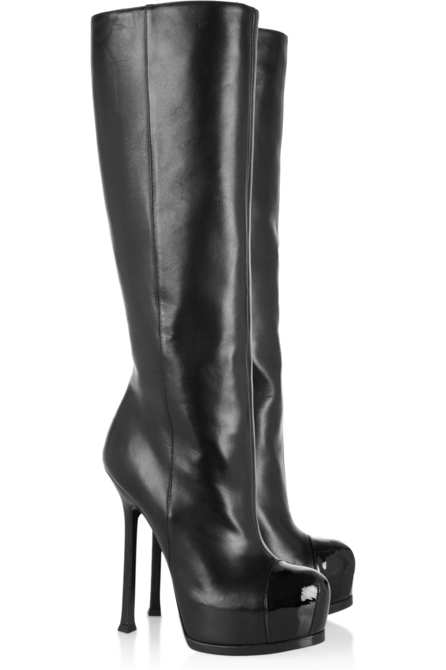 Lyst Saint Laurent Tribtoo Leather And Patent Knee Boots