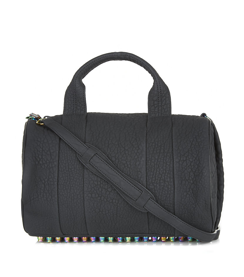 alexander wang rocco iridescent stud duffle bag in gray lyst. Black Bedroom Furniture Sets. Home Design Ideas
