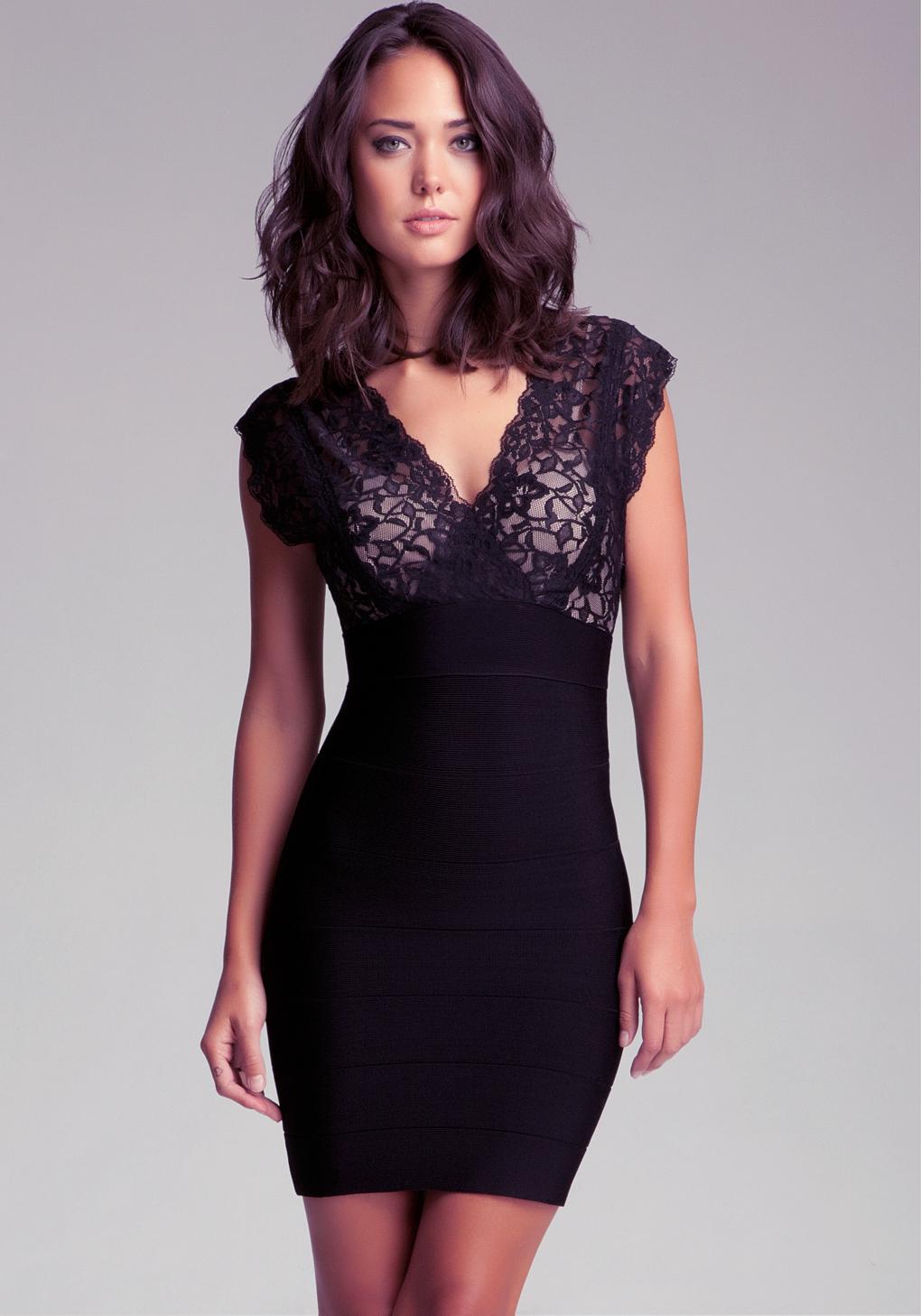 Lyst Bebe Cutout Lace Twofer Bandage Dress In Black