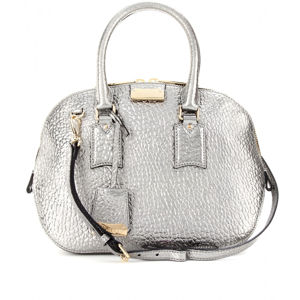 ed3936926ad3 Lyst - Burberry Small Orchard Metallic Leather Bowling Bag in Metallic