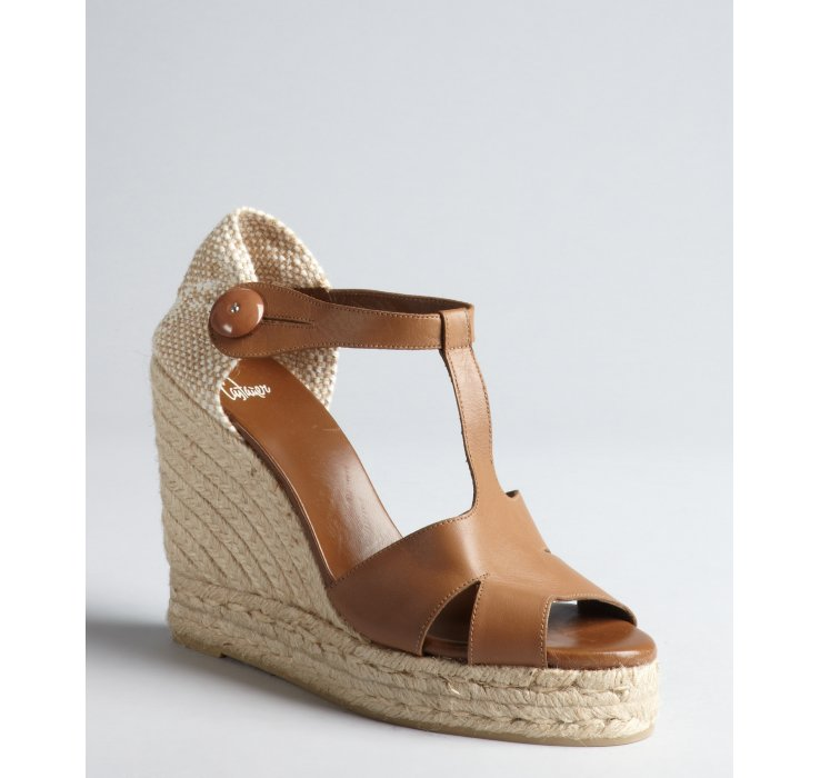 Castaner Tan Leather And Jute T Strap Berth Espadrille
