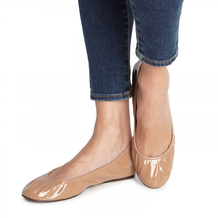 Chic Nude Patent Flats - Studded Flats - Pointed Toe Flats