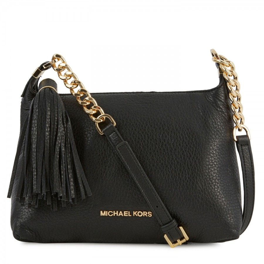 michael kors weston grained leather crossbody bag in black