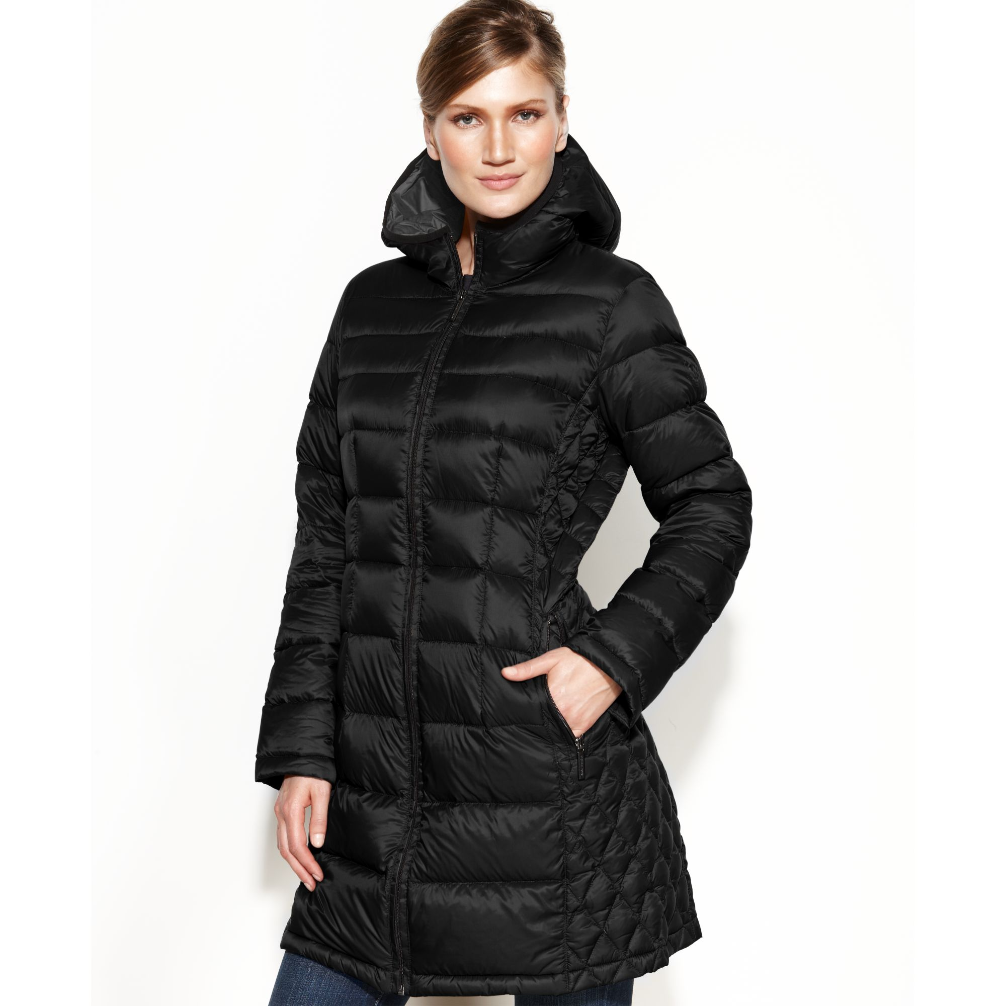 Michael Kors Hooded Quilted Down Packable Puffer in Black ...