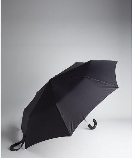 Prada Black Compact Umbrella With Leather Handle In Black