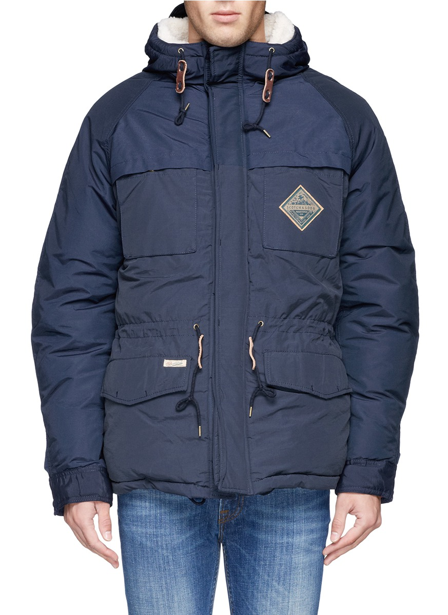 scotch soda quilted fleece lined parka in blue for men. Black Bedroom Furniture Sets. Home Design Ideas