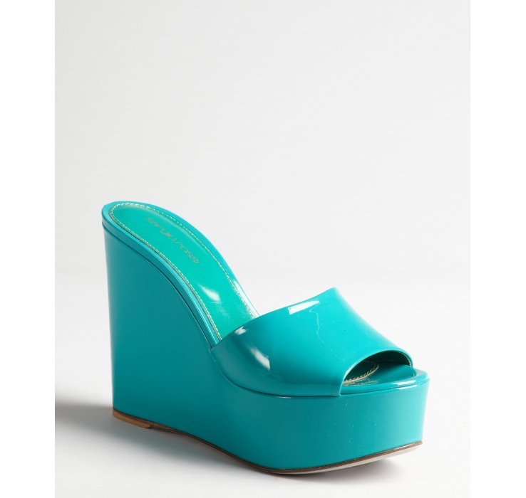Sergio Rossi Turquoise Patent Leather Slide Wedge Sandals