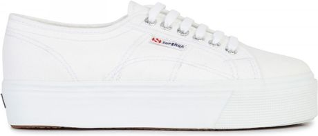superga flatform canvas trainers in white lyst. Black Bedroom Furniture Sets. Home Design Ideas