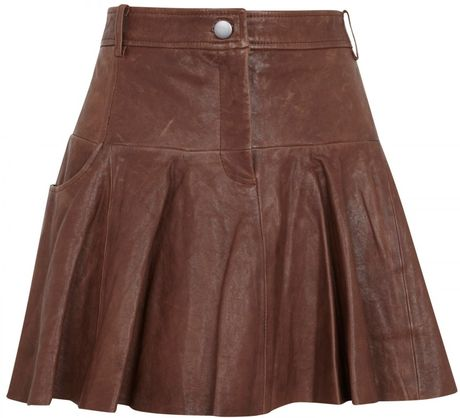 thakoon addition pleated leather skirt in brown lyst
