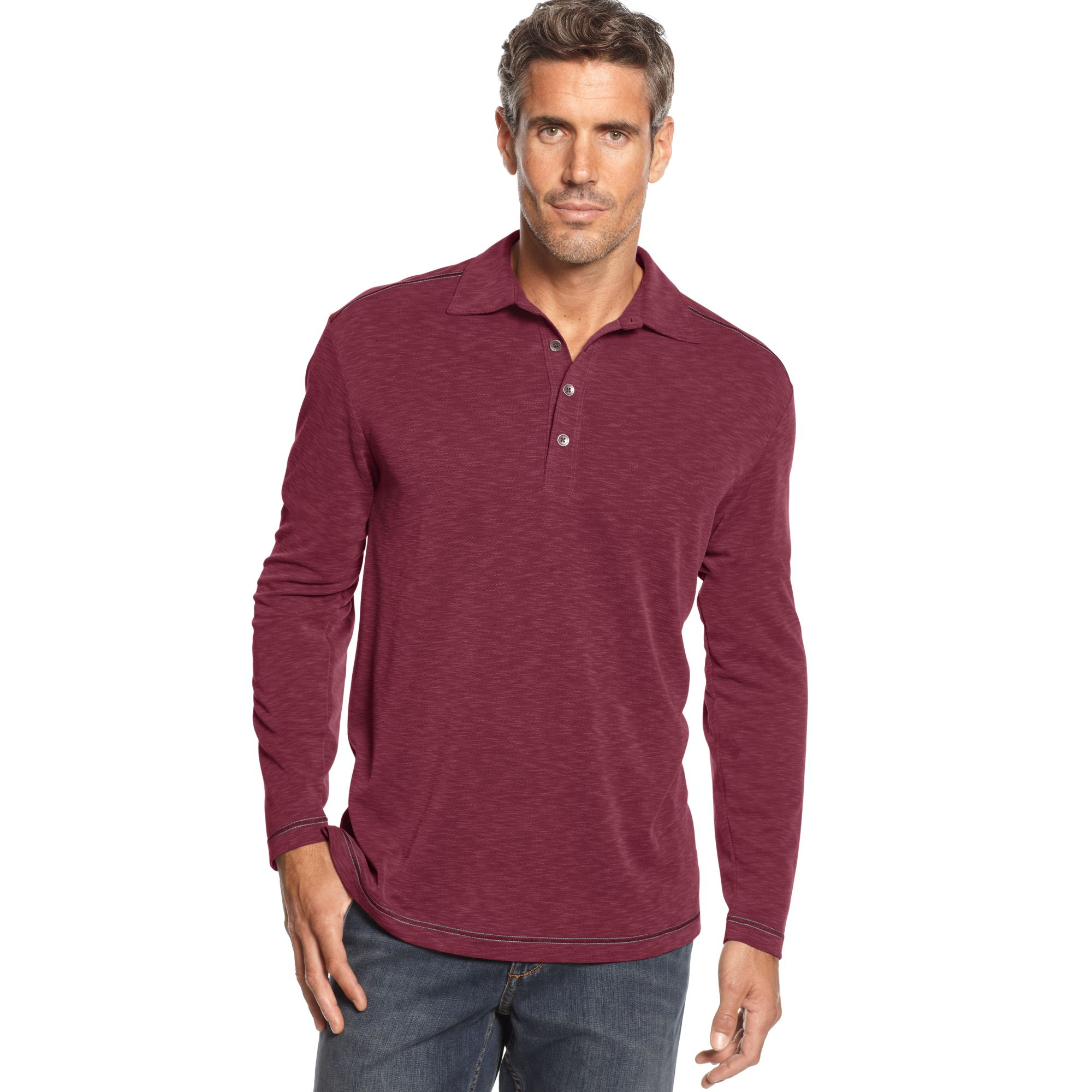 Tommy Bahama Paradise Blend Long Sleeve Polo Shirt In Red