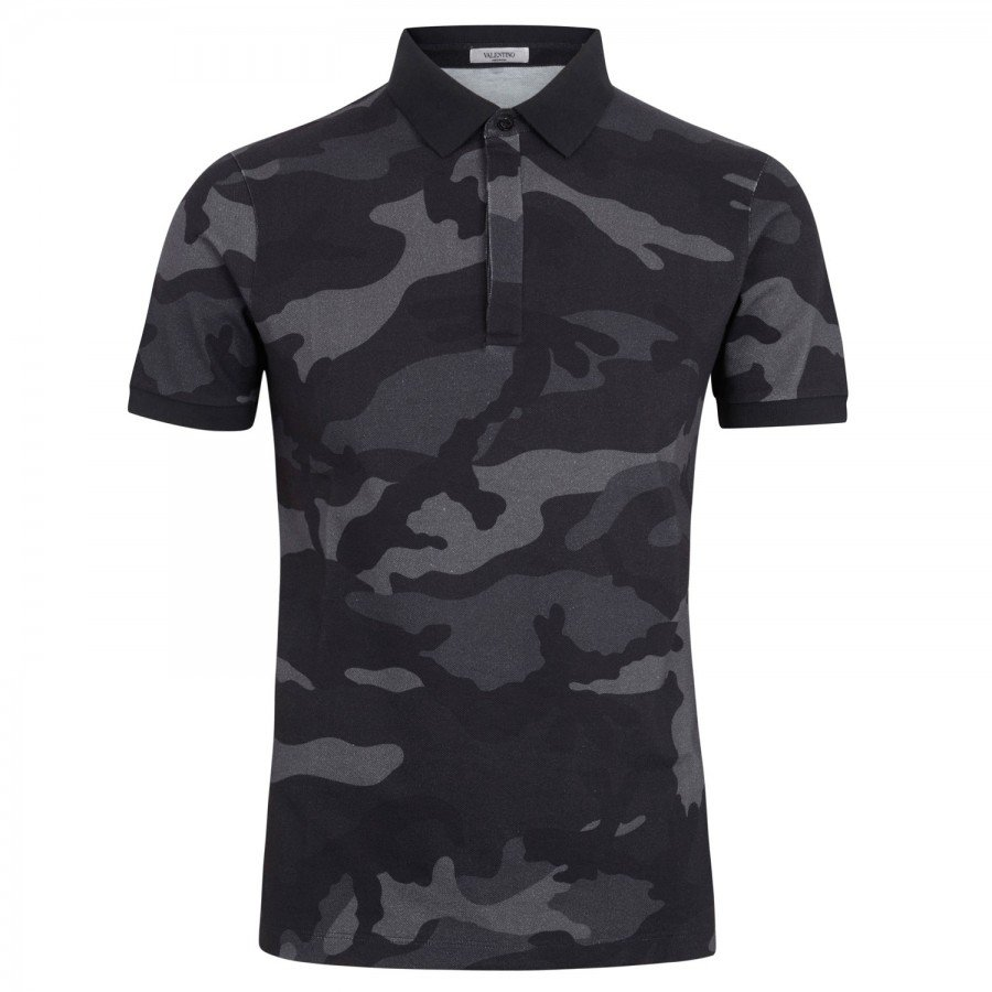 Valentino camouflage piqu cotton polo shirt in black for for Camo polo shirts for men